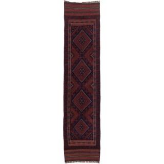 Ecarpetgallery Hand-knotted Tajik Caucasian Red Blue Wool Runner Rug (1'10 x 8')