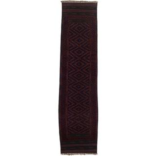 Ecarpetgallery Hand-knotted Tajik Caucasian Blue Red Wool Geometric Runner Rug (1'11 x 8'8)