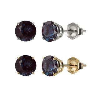 gemross stud en silver cut pear alexandrite earrings in a