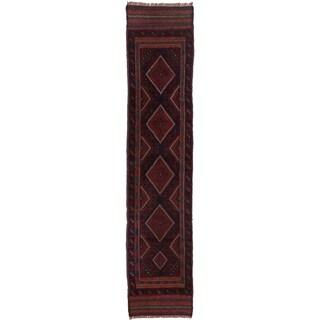 Ecarpetgallery Hand-knotted Tajik Caucasian Blue Red Wool Runner Rug (1'10 x 8'5)