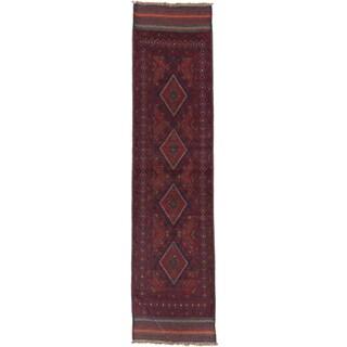 Ecarpetgallery Hand-knotted Tajik Caucasian Blue Red Wool Geometric Runner Rug (2'1 x 8'6)