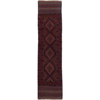 Ecarpetgallery Hand-knotted Tajik Caucasian Blue Red Wool Geometric Casual Runner Rug (2'1 x 8'5)