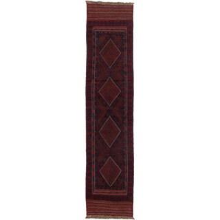 Ecarpetgallery Hand-knotted Tajik Caucasian Red Blue Wool Geometric Runner Rug (1'11 x 8'8)