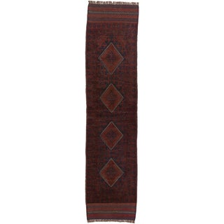 Ecarpetgallery Hand-knotted Tajik Caucasian Blue Red Wool Geometric Casual Runner Rug (1'11 x 8'3)