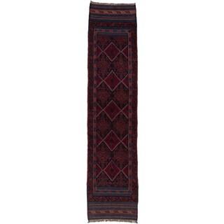 Ecarpetgallery Hand-knotted Tajik Caucasian Blue Red Wool Geometric Oriental Runner Rug (2' x 8'7)