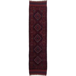 Ecarpetgallery Hand-knotted Tajik Caucasian Blue Red Wool Geometric Casual Runner Rug (2' x 8'2)