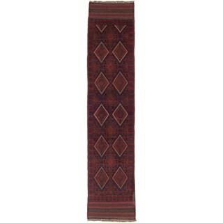 Ecarpetgallery Hand-knotted Tajik Caucasian Blue Red Wool Geometric Casual Runner Rug (1'11 x 8'8)