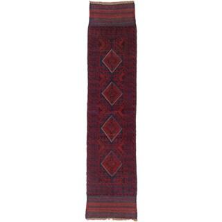 Ecarpetgallery Hand-knotted Tajik Caucasian Blue Red Wool Geometric Runner Rug (1'11 x 8'2)