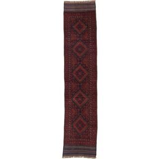 Ecarpetgallery Hand-knotted Tajik Caucasian Red Blue Wool Runner Rug (1'10 x 8'8)