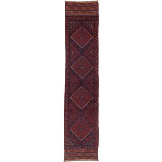 Ecarpetgallery Hand-knotted Tajik Caucasian Blue Red Wool Runner Rug (1'9 x 8'6)
