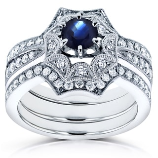 Annello by Kobelli 14k White Gold Sapphire and 1/2ct TDW Diamond Bridal Set (H-I, I1-I2)
