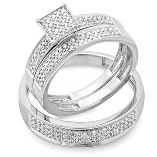 Sterling Silver 1/2ct TDW Round White Diamond Men's and Women's Micro Pave Engagement Ring Trio Bridal Set (I-J, I2-I3)