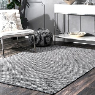 nuLOOM Handmade Flatweave Diamond Black Cotton Rug (9' x 12')