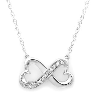 14k White Gold 1/10ct TDW Round White Diamond Double Heart Infinity Love Pendant (I-J, I1-I2)