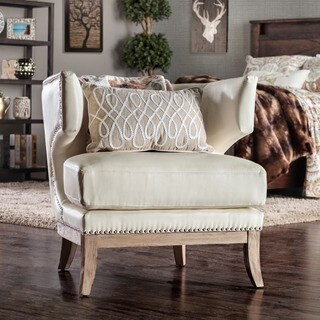 Furniture of America Darley Contemporary White Bonded Leather Wingback Club Chair