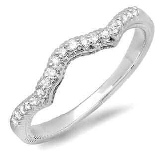 Elora 14k White Gold 1/6ct TDW Round White Diamond Anniversary Ring Wedding Matching Chevron Band (H-I, I1