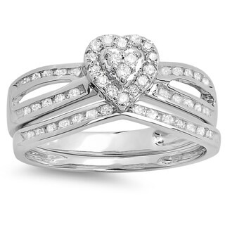 Elora 10k White Gold 1/2ct TDW Round Diamond Split Shank Heart Shaped Bridal Engagement Ring Matching Band