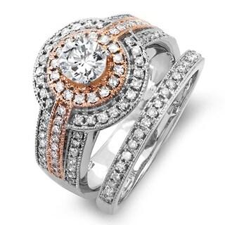 Elora 14k Two Tone Rose Gold 1 1/6ct TDW Round Diamond Engagement Bridal Ring Set With Matching Band (H-I,