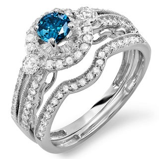 14k White Gold 1ct TDW Round Blue and White Diamond Halo Bridal Engagement Ring Set 3/8ct Center Included (Blue, I1-I2)