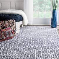 nuLOOM Handmade Flatweave Moroccan Trellis Navy Cotton Rug (9' x 12') - 9' x 12'