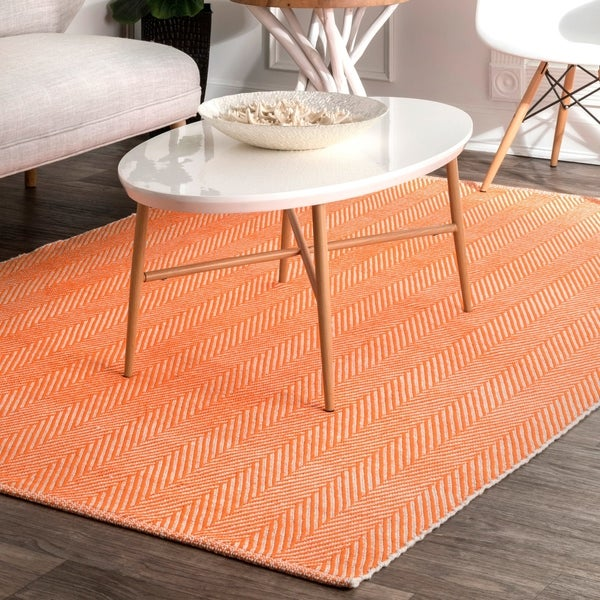 nuLOOM Handmade Flatweave Herringbone Chevron Orange Cotton Rug (9' x 12')