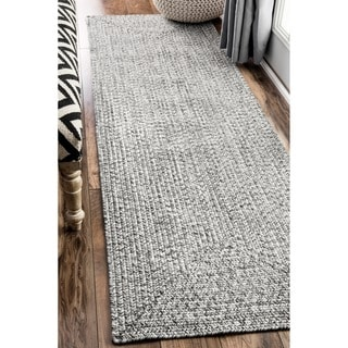 nuLOOM Handmade Casual Solid Braided Light Grey Runnner Rug (2'6 x 8') - Thumbnail 0