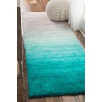 nuLOOM Handmade Soft and Plush Ombre Shag Turquoise Runner Rug - 2'6 x 8'