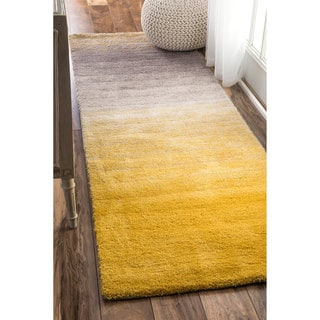 nuLOOM Handmade Soft and Plush Ombre Shag Yellow Runner Rug (2'6 x 8')