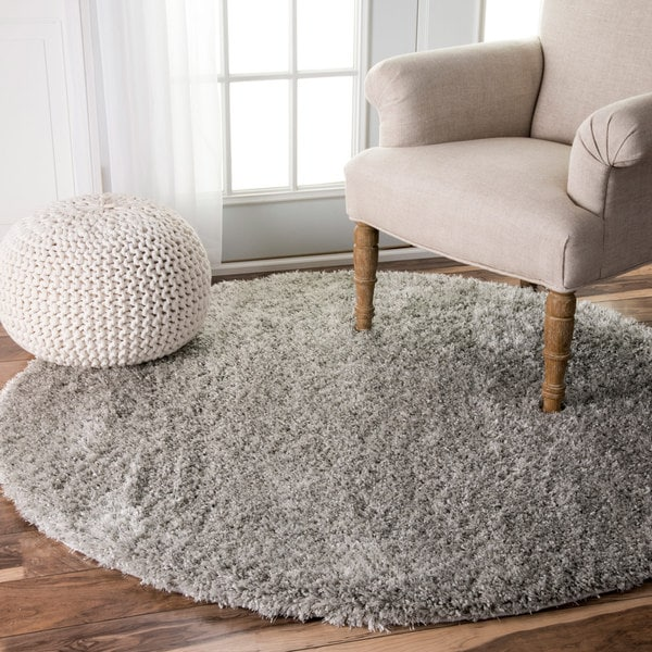 NuLOOM Soft And Plush Solid Thick Shag Grey Rug (5'3 Round