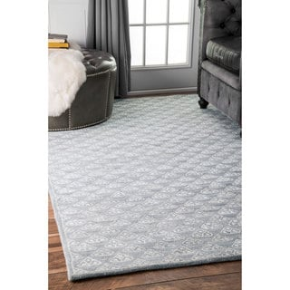 nuLOOM Handmade Modern Dotted Triangles Wool/ Viscose Blue/Grey Rug (5' x 8')