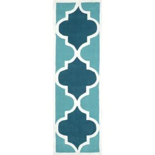 nuLOOM Handmade Luna Moroccan Trellis Blue Runner Rug (2'6 x 8')