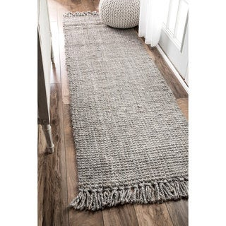 Havenside Home Caladesi Handmade Braided Grey Jute Reversible Runner Rug (2'6 x 8')