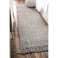 Havenside Home Caladesi Handmade Braided Grey Jute Reversible Runner Rug - 2'6 x 8'