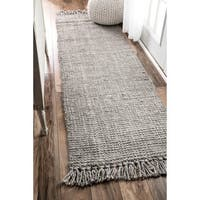 Havenside Home Caladesi Handmade Braided Grey Jute Reversible Runner
