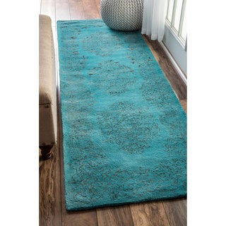 nuLOOM Hand-knotted Wool/ Viscose Overdyed Traditional Medallion Blue Runner Rug (2'6 x 8')