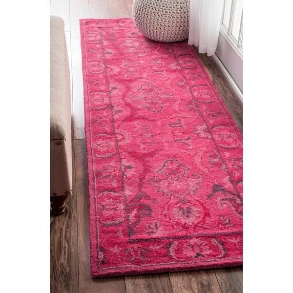 Nuloom Handmade Persian Overdyed Pink Wool Runner Rug 2 6