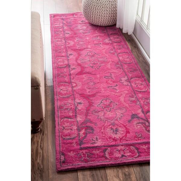 NuLOOM Handmade Persian Overdyed Pink Wool Runner Rug (2'6