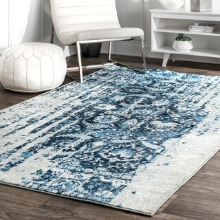 nuLOOM Distressed Vintage Faded Persian Blue Rug (4' x 6')