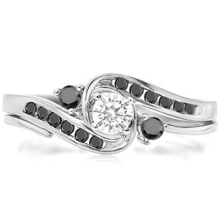 Elora 10k White Gold 1/2ct TDW Round Black/ White Diamond Swirl Bridal Engagement Ring Set (H-I and Black,