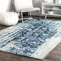 nuLOOM Distressed Vintage Faded Persian Blue Rug (7'6 x 9'6)
