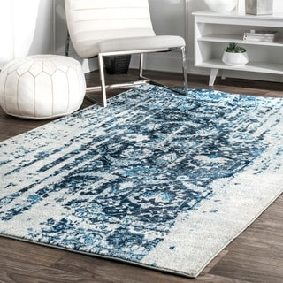 nuLOOM Distressed Vintage Faded Persian Blue Rug (8'6 x 11'6)