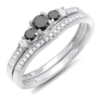 Elora 14k White Gold 1/2ct TDW Round Black And White Diamond 5-stone Engagement Ring Set (H-I and Black, I