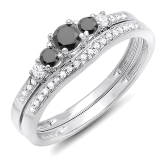 14k White Gold 1/2ct TDW Round Black And White Diamond 5-stone Engagement Ring Set (H-I and Black, I1-I2 and Opaque)