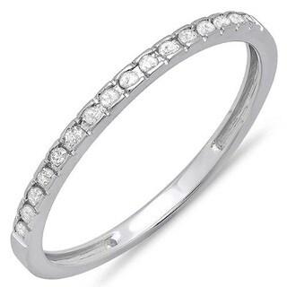 Elora 14k White Gold 1/8ct TDW Round Diamond Anniversary Wedding Band Stackable Ring (I-J, I2-I3)