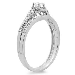 Elora 14K Gold 1/3 ct TDW Round Diamond Ladies Halo Style Bridal Engagement Ring Matching Band Set 1/3 CT