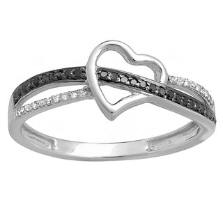10k White Gold 1/8ct TDW Round Black/ White Diamond Promise Heart Engagement Ring (I-J and Black, I2-I3 and Opaque)