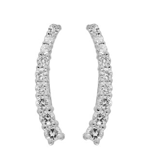 Elora 14k White Gold 1/4ct TDW Round Cut White Diamond Crawler Climber Earrings (I-J, I2-I3)