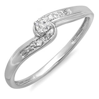 Elora 10k White Gold 1/10ct TDW Round Diamond Crossover Swirl Bridal Promise Promise Ring