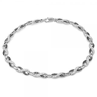 Sterling Silver 1/3ct TDW Round Black And White Diamond Infinity Tennis Link Bracelet (I-J and Black, I2-I3 and Opaque)