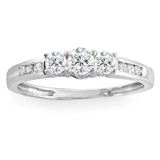 Elora 14k White Gold 3/8 ct TDW Round Diamond 3 stone Engagement Bridal Ring